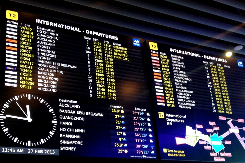 Melbourne Airport flight information display system