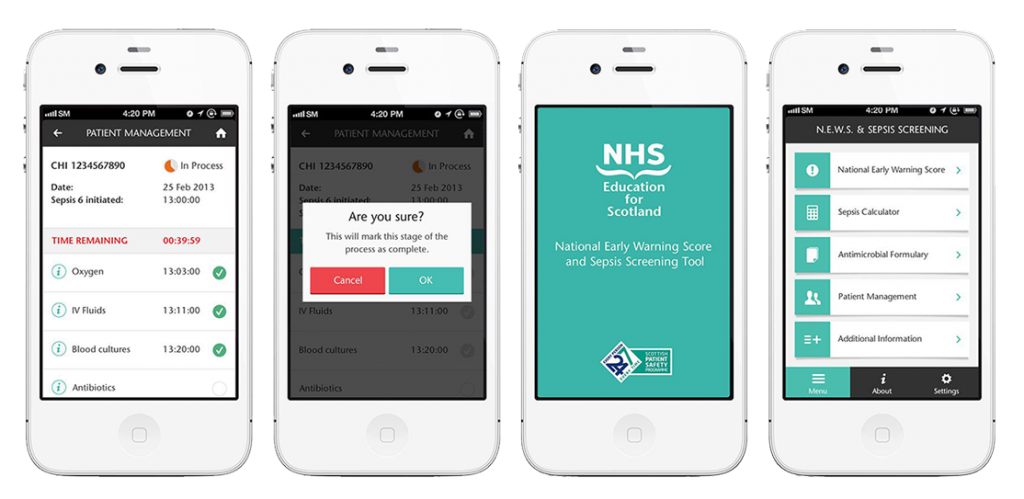 Screenshot of Sepsis app